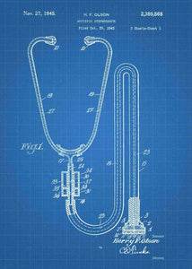 stethoscope patent print, stethoscope poster perfect for doctors office decor. shown in the stlye blueprint