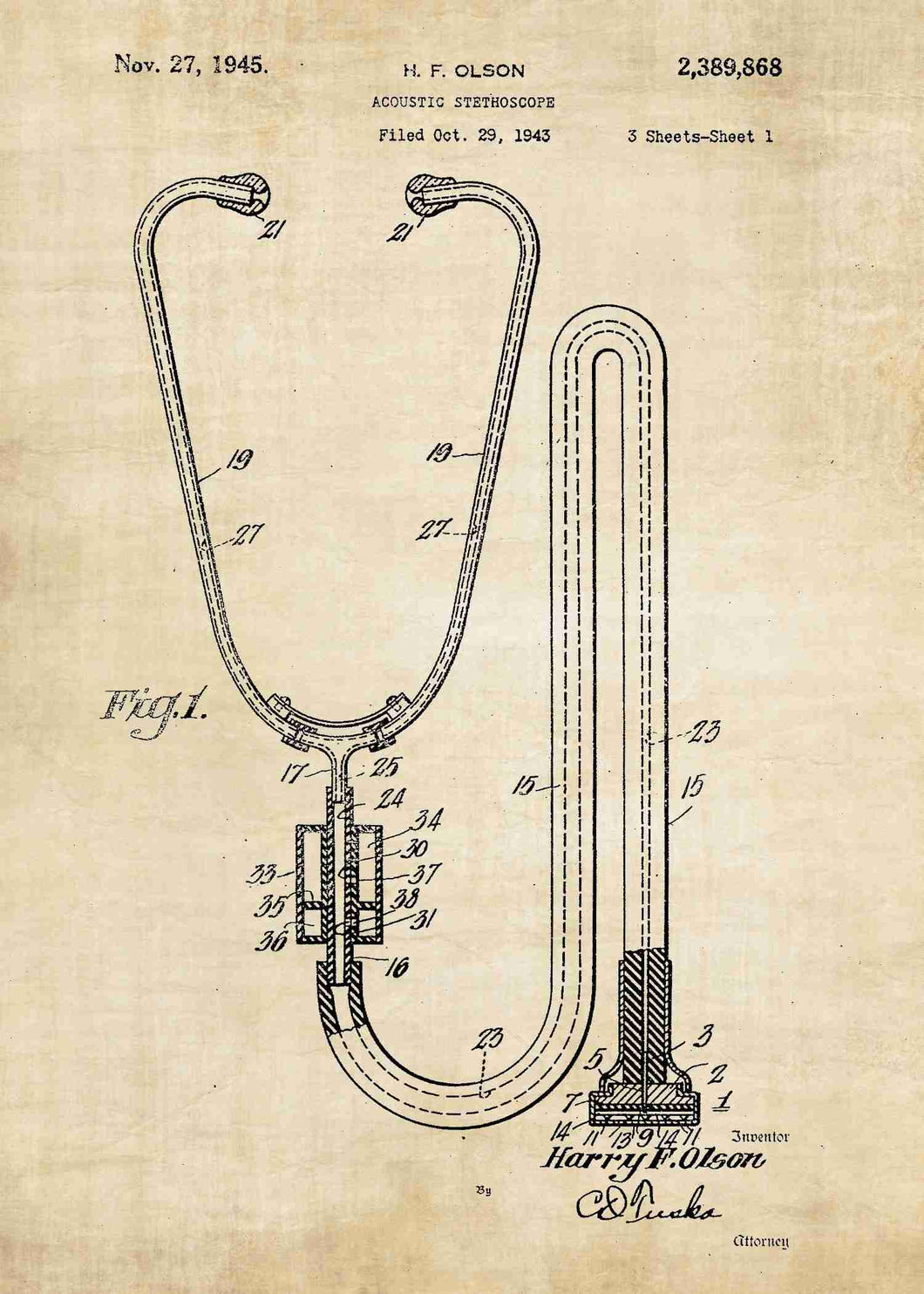 stethoscope patent print, stethoscope poster perfect for doctors office decor. shown in the stlye vintage