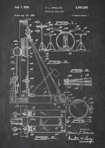 drum set patent print, drum set poster shown in the style chalkboard