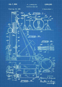 drum set patent print, drum set poster shown in the style blueprint