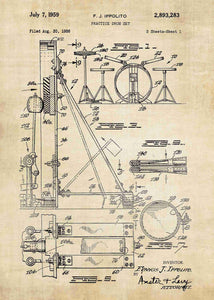 drum set patent print, drum set poster shown in the style vintage