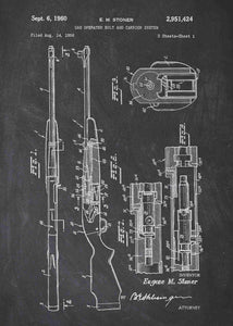 Eugene Stoner Gas Operated Bolt & Carrier System patent print, eugene stoner gun poster in the style chalkboard