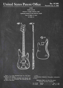 fender bass guitar patent print, fender bass guitar poster shown in the style chalkboard