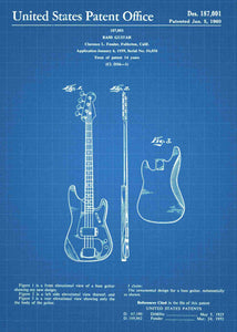 fender bass guitar patent print, fender bass guitar poster shown in the style blueprint