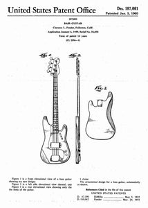 fender bass guitar patent print, fender bass guitar poster shown in the style white