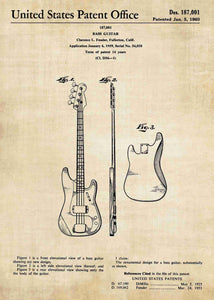 fender bass guitar patent print, fender bass guitar poster shown in the style vintage