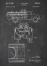 fire truck patent print, fire truck poster shown in the style Chalkboard