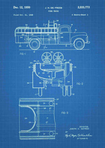 fire truck patent print, fire truck poster shown in the style blueprint