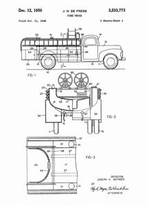 fire truck patent print, fire truck poster shown in the style white