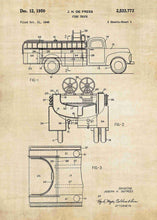 fire truck patent print, fire truck poster shown in the style vintage