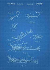 fishing lure patent print, fisherman's poster shown in the style blueprint