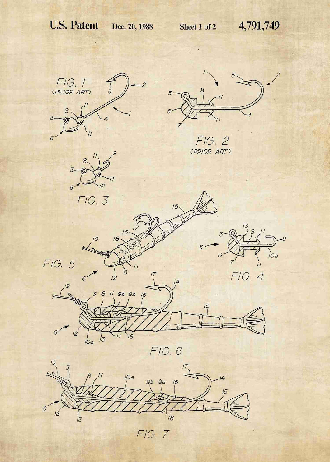 fishing lure patent print, fisherman's poster shown in the style vintage