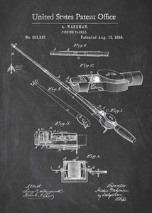 fishing rod patent print, fishing poster fishermans home decor in the style chalkboard