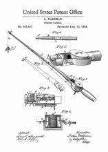 fishing rod patent print, fishing poster fishermans home decor in the style white