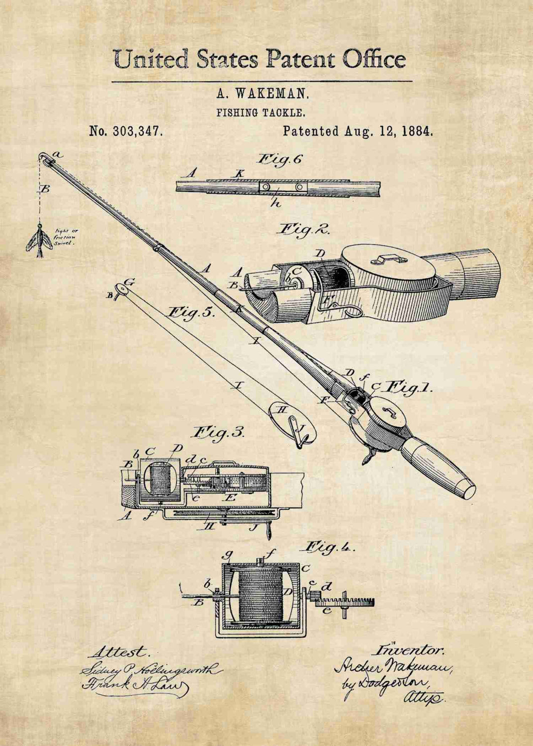 fishing rod patent print, fishing poster fishermans home decor in the style vintage
