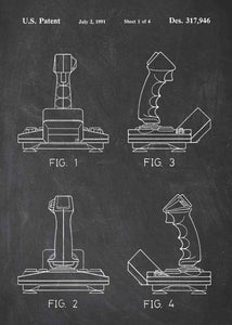 Flight Sim Gaming Joystick patent print, Flight Sim Gaming Joystick poste rin the style chalkboard
