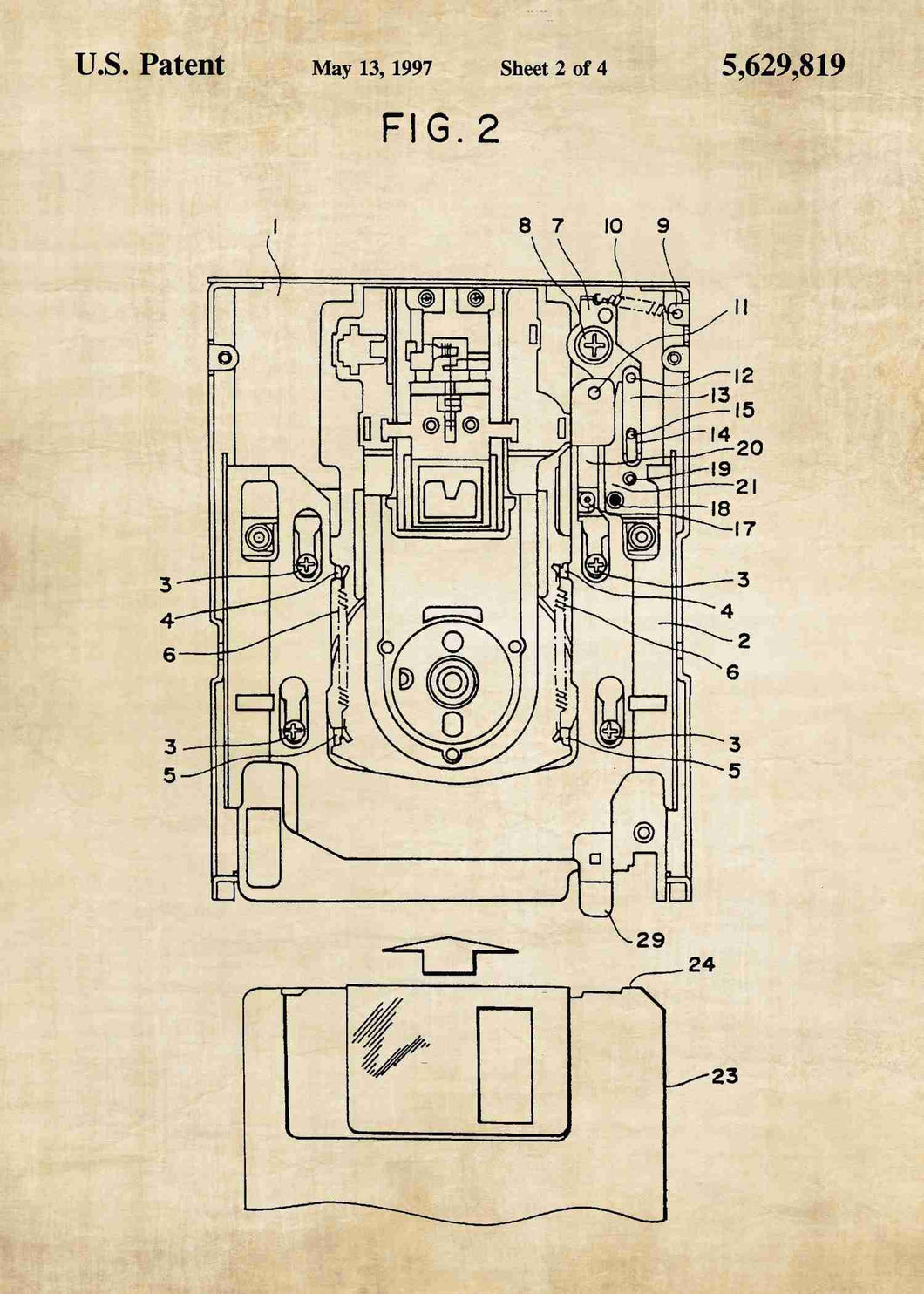 floppy disk drive patent print, floppy disk poster in the style vintage