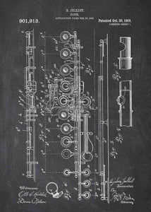 flute patent print, flute poster shown in the style chalkboard