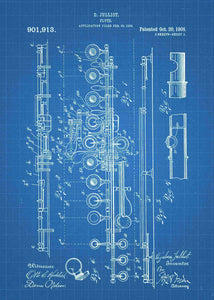 flute patent print, flute poster shown in the style blueprint