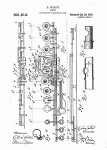 flute patent print, flute poster shown in the style white