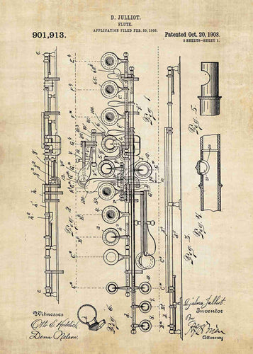 flute patent print, flute poster shown in the style vintage