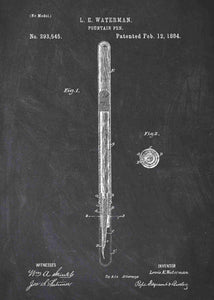 fountain pen patent print, fountain pen poster in the style chalkboard