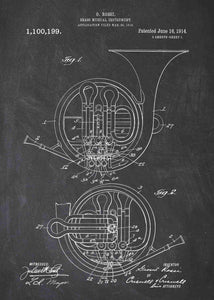 french horn patent print, french horn poster shown in the style chalkboard