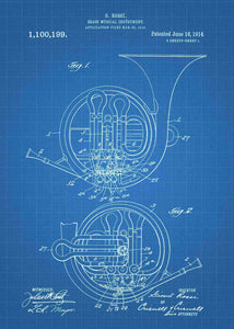 french horn patent print, french horn poster shown in the style blueprint