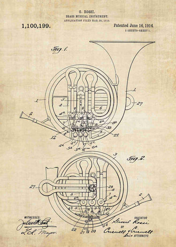 french horn patent print, french horn poster shown in the style vintage