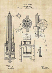 gatling gun patent print, gatling machine gun poster in the style vintage