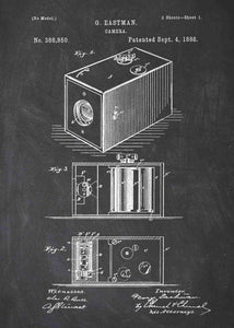 George Eastman Box Camera patent print, box camera photography poster in the style chalkboard