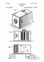 George Eastman Box Camera patent print, box camera photography poster in the style white
