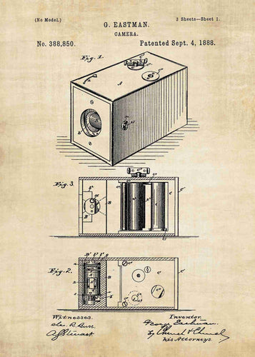 George Eastman Box Camera patent print, box camera photography poster in the style vintage
