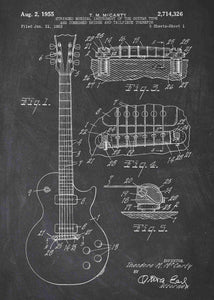 gibson guitar patent print, gibson guitar poster shown in the style chalkboard