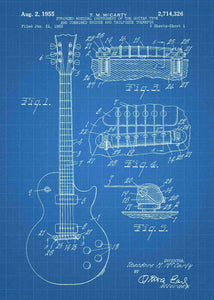 gibson guitar patent print, gibson guitar poster shown in the style blueprint