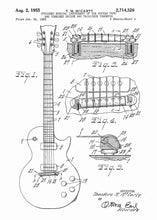 gibson guitar patent print, gibson guitar poster shown in the style white
