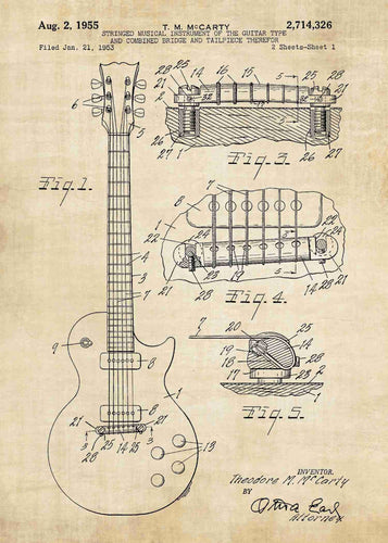 gibson guitar patent print, gibson guitar poster shown in the style vintage