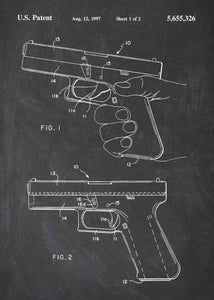 glock 19 handgun patent print, glock 19 handgun poster shown in the style chalkboard