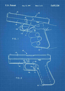 glock 19 handgun patent print, glock 19 handgun poster shown in the style blueprint