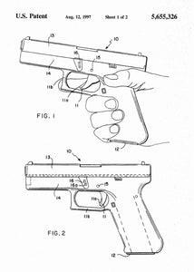 glock 19 handgun patent print, glock 19 handgun poster shown in the style white