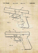 glock 19 handgun patent print, glock 19 handgun poster shown in the style vintage