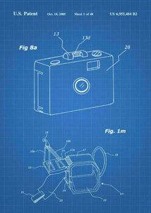 gopro patent print, gopro poster in the style blueprint