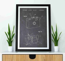 gopro patent print, gopro poster in the style chalkboard mocked up in a frame