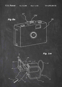 gopro patent print, gopro poster in the style chalkboard