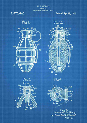grenade patent print, grenade poster in the style blueprint