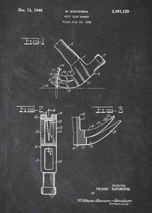 hammer patent print, hammer poster shown in the style chalkboard