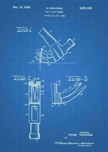 hammer patent print, hammer poster shown in the style blueprint