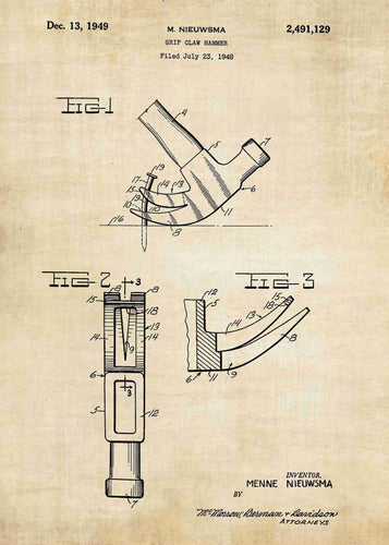 hammer patent print, hammer poster shown in the style vintage