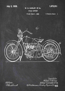 harley davidson motocycle patent print, harley davidson poster in the style chalkboard