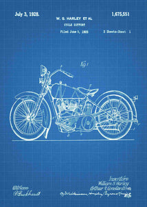 harley davidson motocycle patent print, harley davidson poster in the style blueprint